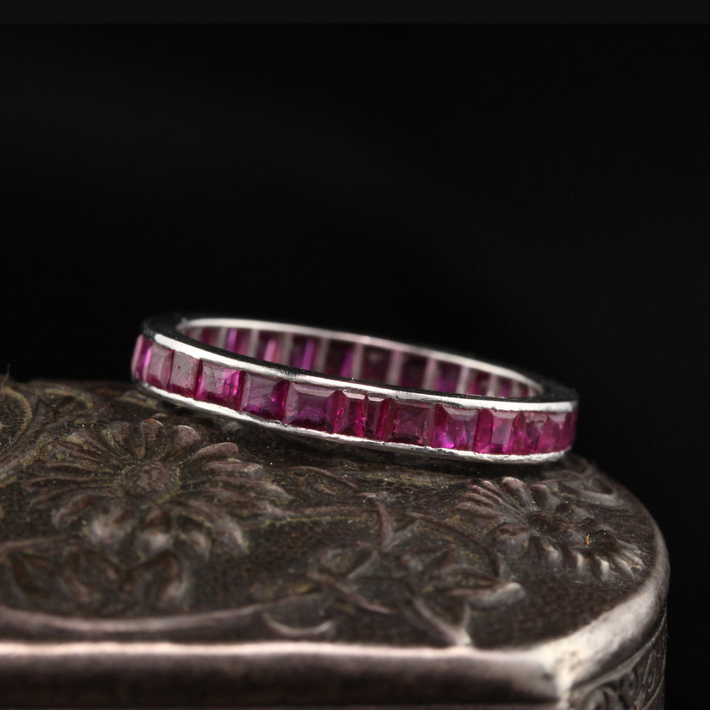 Antique Art Deco Platinum Ruby Eternity Band - Size 7
