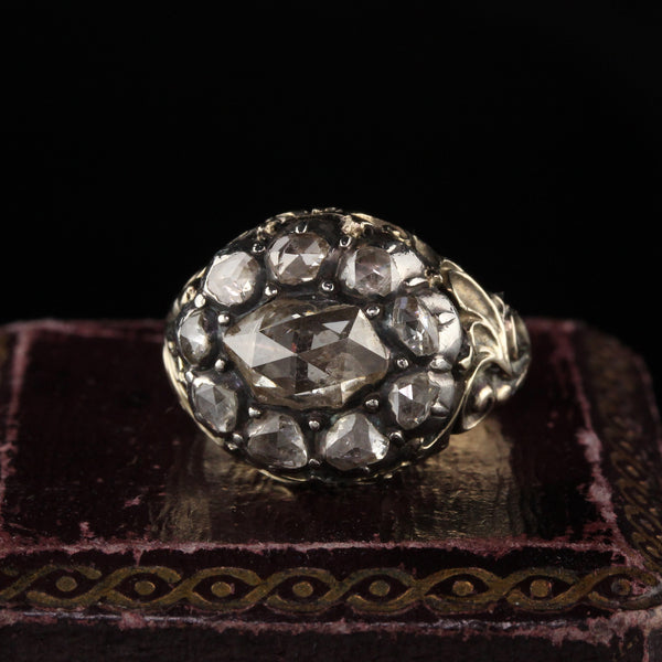 RESERVED - Antique Georgian 18K Yellow Gold and Silver Top Rose Cut Diamond Engagement Ring