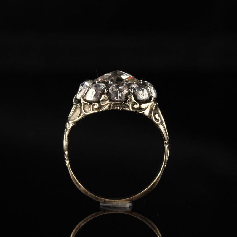 Antique Georgian 18K Yellow Gold and Silver Top Rose Cut Diamond Engagement Ring