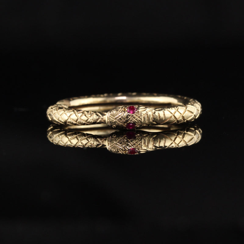 Antique Victorian 14K Yellow Gold Ruby Snake Ring
