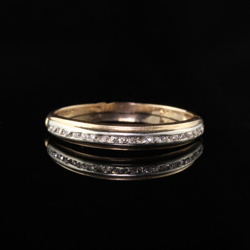 Antique Art Deco 14K Yellow Gold and Platinum French Cut Diamond Band