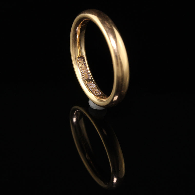 Shreve Crump and Low Antique Victorian 18K Yellow Gold Engraved 1901 Wedding Band