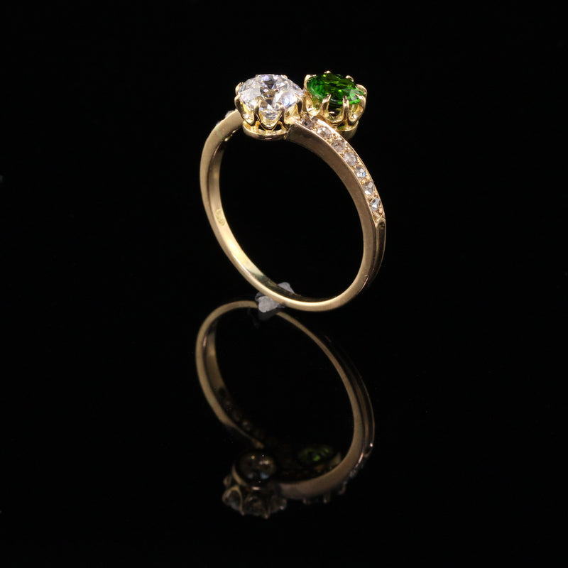 Antique Victorian 18K Yellow Gold .95 ct Old European Diamond and Tsavorite Toi Et Moi Ring