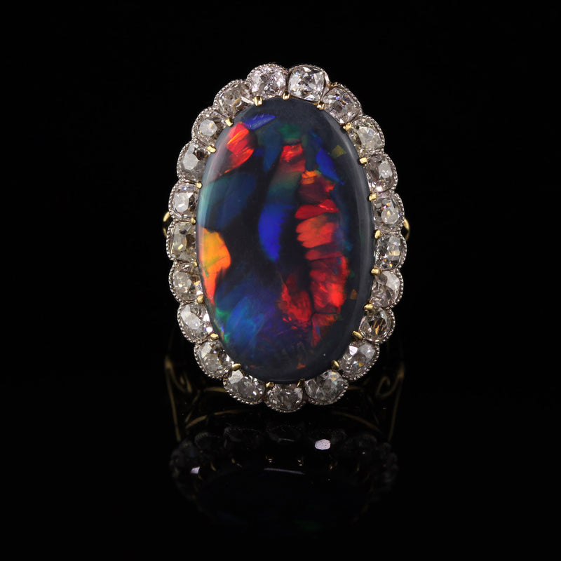 Antique Victorian 18K Yellow Gold and Platinum Old Mine Cut Diamond Black Opal Ring