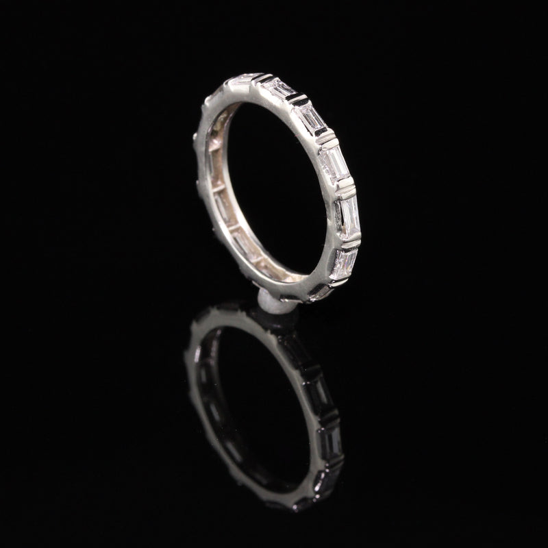 Vintage Retro Platinum Diamond Baguette Eternity Ring - Size 5.75