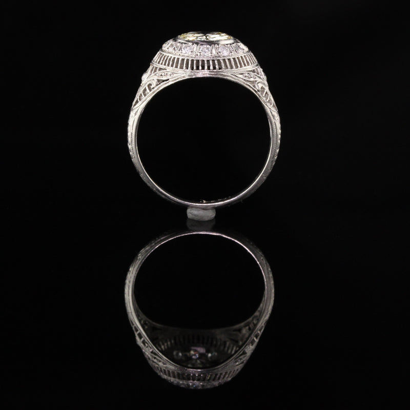 Antique Art Deco Platinum 1.55 ct Old European Diamond Engagement Ring