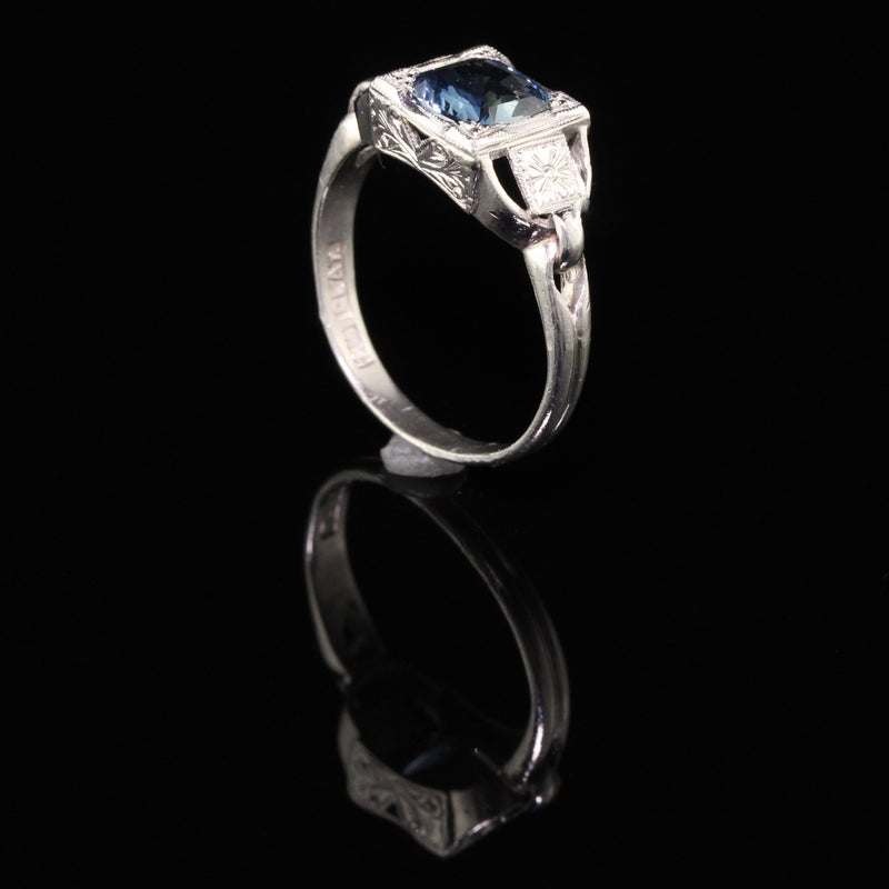 Antique Art Deco Platinum Sapphire Engagement Ring