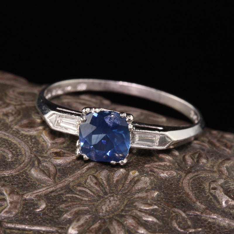 Antique Art Deco Platinum Sapphire and Diamond Engagement Ring - Layaway 3 of 4