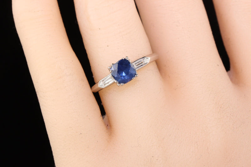 Antique Art Deco Platinum Sapphire and Diamond Engagement Ring - Layaway 2 of 4