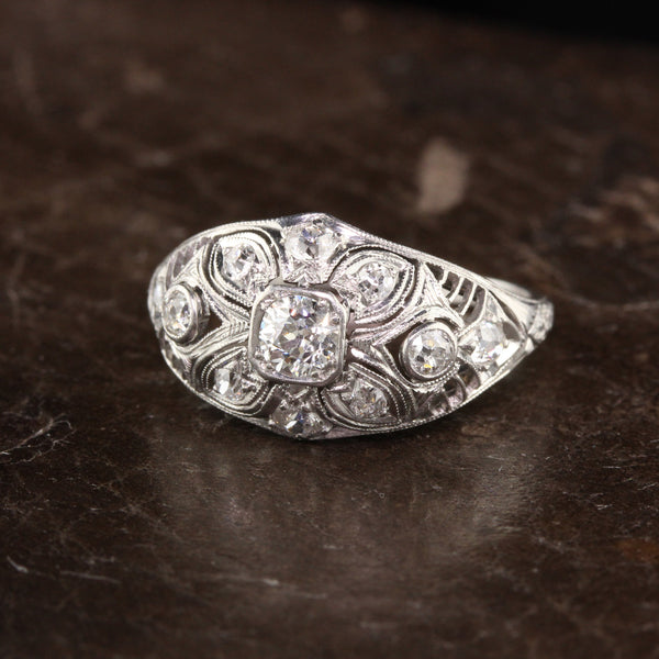 Antique Art Deco Platinum Old Euro Cut and Old Mine Cut Diamond Ring