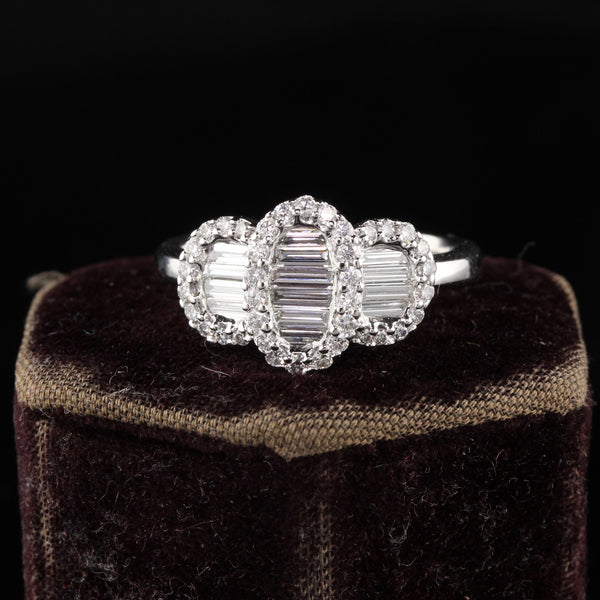 Estate Vintage 14K White Gold Diamond Baguette Cluster 3 Stone Ring