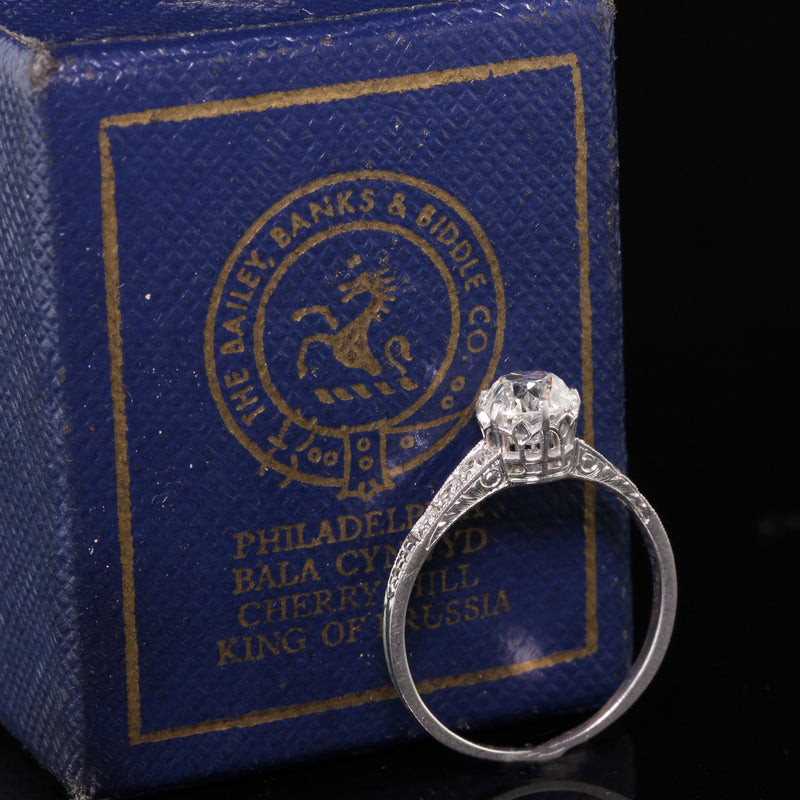 Bailey Banks and Biddle Art Deco Platinum Old Euro Diamond Engagement Ring