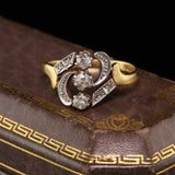 Antique Victorian 18K Yellow Gold Diamond 3 Stone Vertical Ring