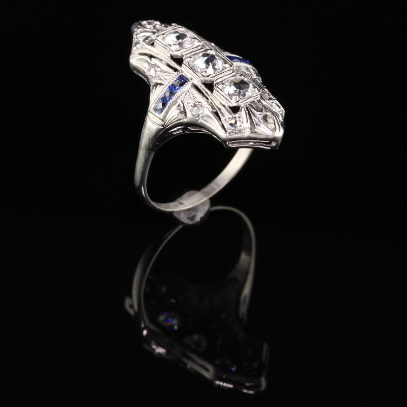Antique Art Deco Platinum Rose Cut and Sapphire Shield Ring