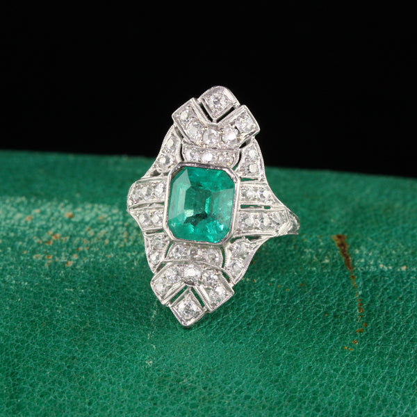 Antique Art Deco Platinum Diamond and Colombian Emerald Shield Ring