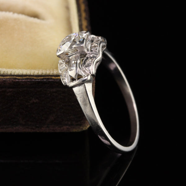 Antique Art Deco Platinum Old European French Cut Engagement Ring