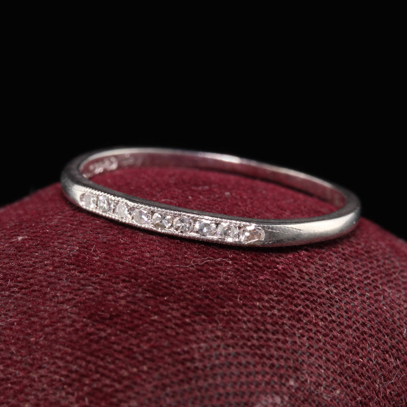 Antique Art Deco Platinum Single Cut Diamond Wedding Band - Size 6 3/4