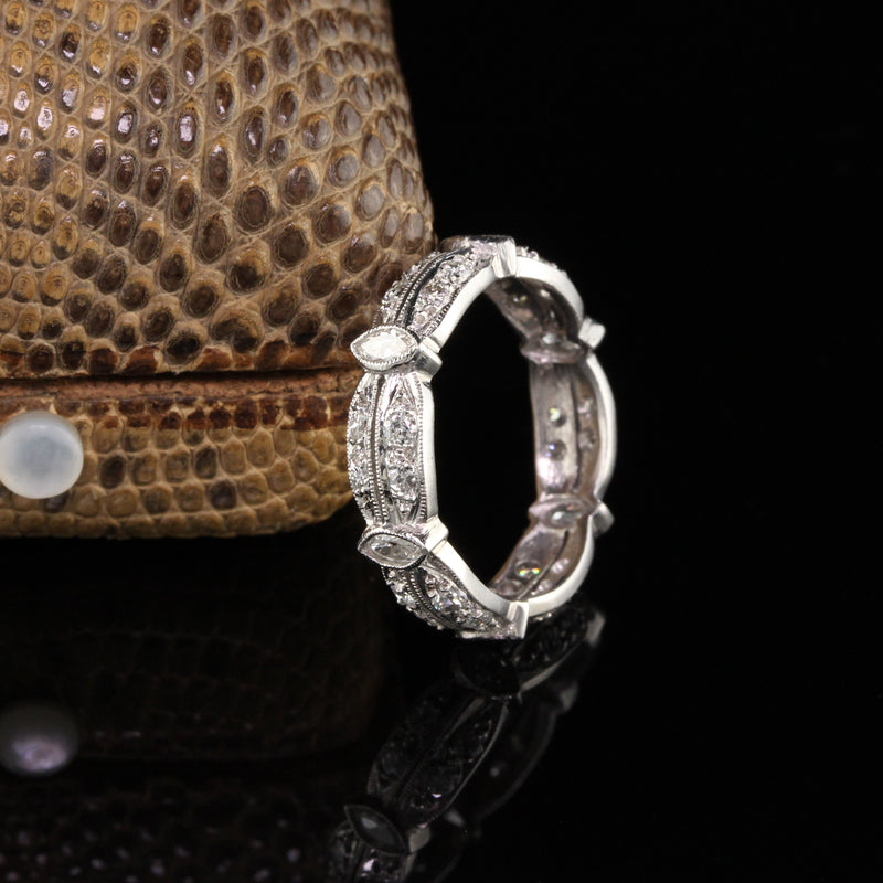 Antique Platinum Marquise and Old European Diamond Eternity Band