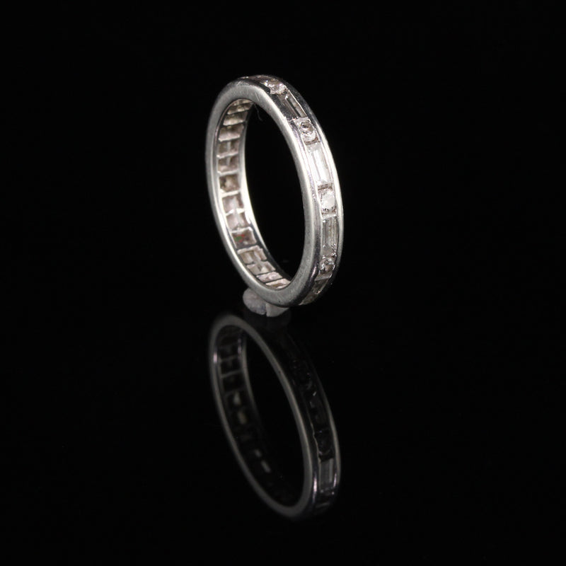 Vintage Retro Platinum Baguette and Round Diamond Eternity Band - Size 6