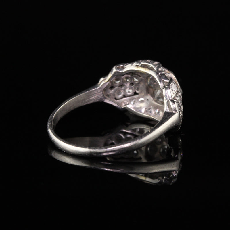 Antique Art Deco Platinum Old Mine Diamond Cluster Engagement Ring