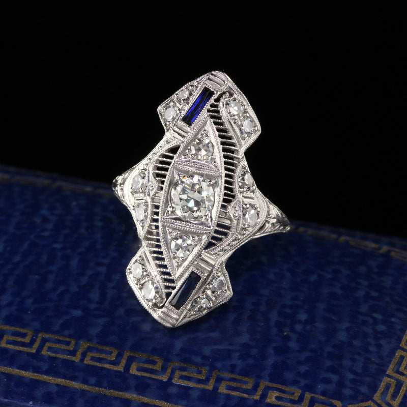 Antique Art Deco Platinum Old European Cut Diamond Sapphire Shield Ring