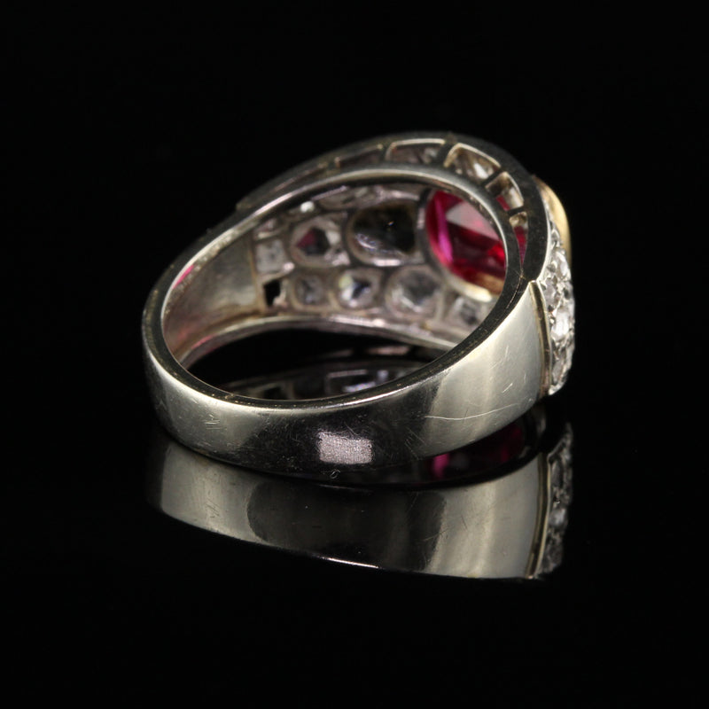 Antique Art Deco 18K White Gold Rose Cut Diamond and Ruby Ring