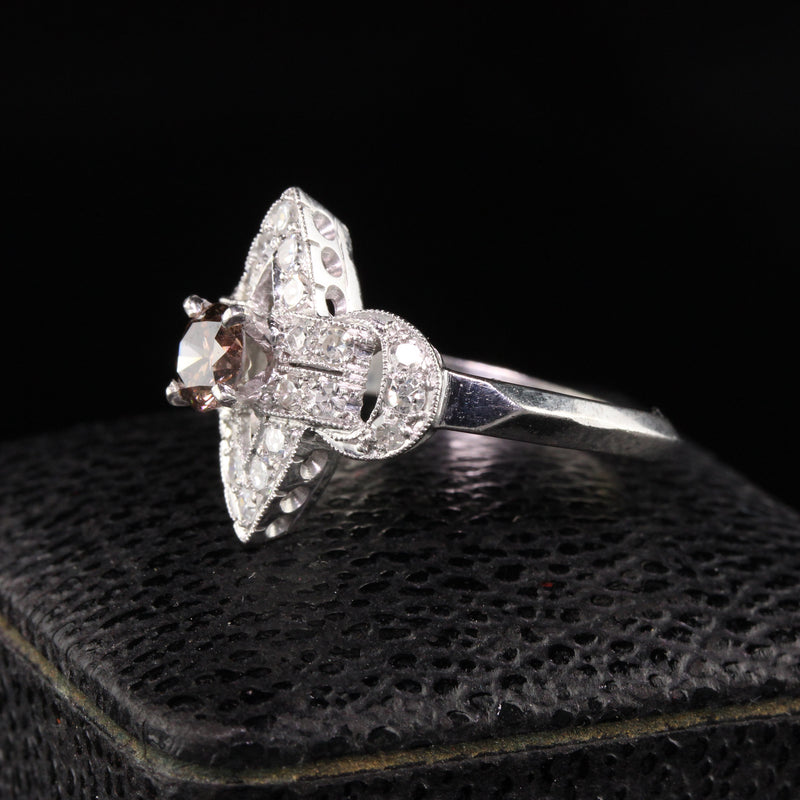 Vintage Art Deco Platinum Single Cut and Champagne Diamond Engagement Ring