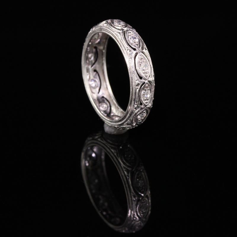 Antique Art Deco Platinum Filigree Diamond Wedding Band