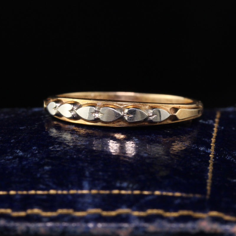 Antique Art Deco 14K/18K Yellow Gold Two Tone Heart Wedding Band - Size 5 1/2