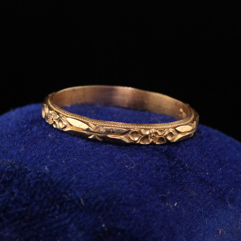 Antique Art Deco 14K Yellow Gold Engraved Wedding Band - Size 5 1/4