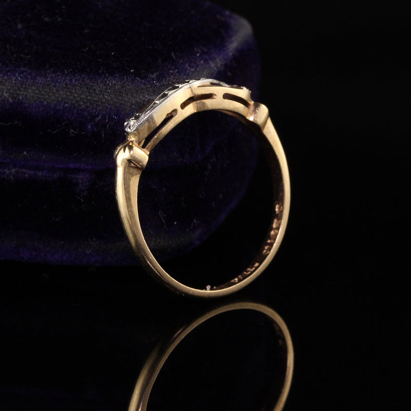 Antique Art Deco 14K Yellow Gold Engraved Wedding Band - 6 1/2