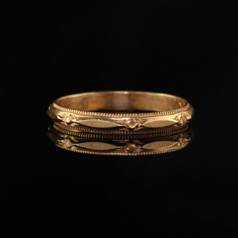 Antique Art Deco 14K Yellow Gold Engraved Wedding Band - Size 6