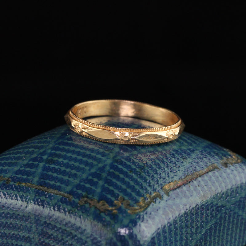 Antique Art Deco 14K Yellow Gold Wedding Band - Size 6 1/2