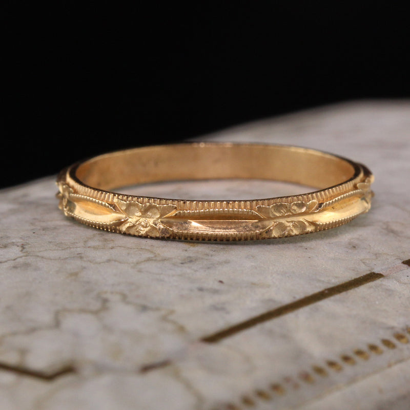 Antique Art Deco 14K Yellow Gold Engraved Wedding Band - Size 7