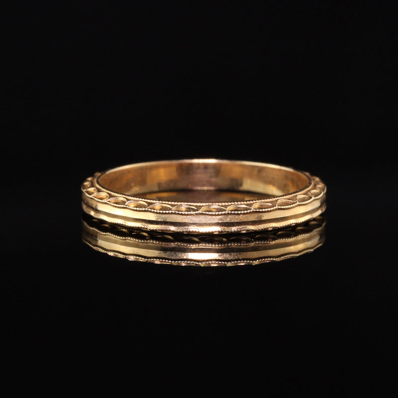 Antique Art Deco 14K Yellow Gold Engraved Wedding Band - Size 7 1/2