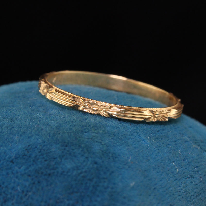 Antique Art Deco 14K Yellow Gold Wedding Band - Size 7 1/2