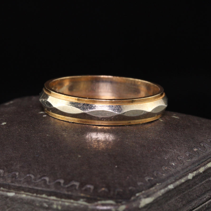 Antique Art Deco 14K Two Tone Yellow Gold Engraved Wedding Band - Size 10 1/2