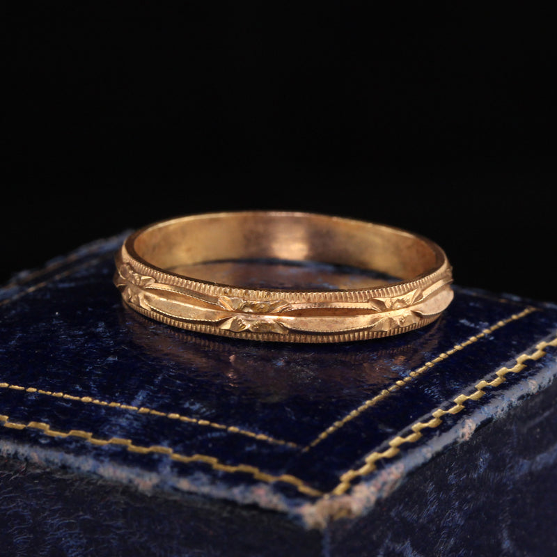 Antique Art Deco 14K Yellow Gold Engraved Wedding Band - Size 11 1/2