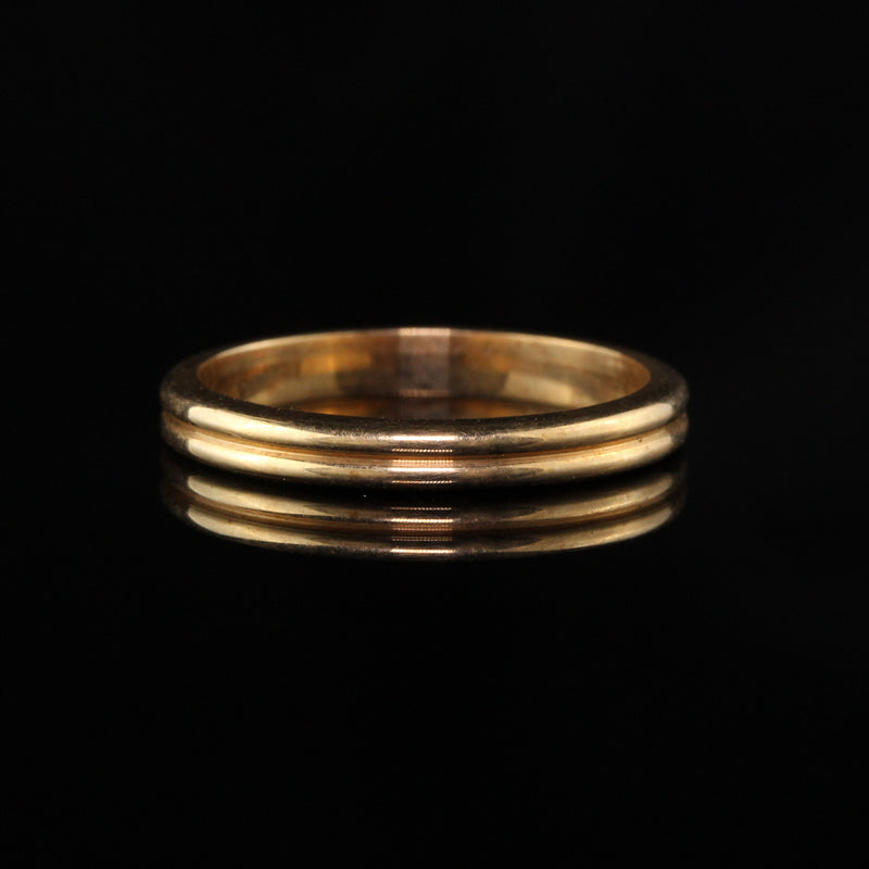 Antique Art Deco 14K Yellow Gold Engraved Wedding Band - Size 6 1/4