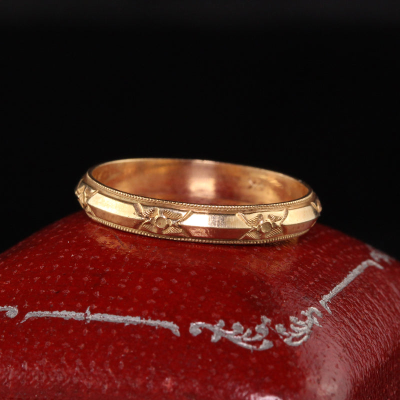 Antique Art Deco 14K Yellow Gold Engraved Wedding Band - Size 9 1/2