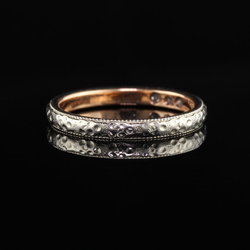 Antique Art Deco 18K White Gold Two Tone 3 Stone Diamond Wedding Band - Size 7 3/4