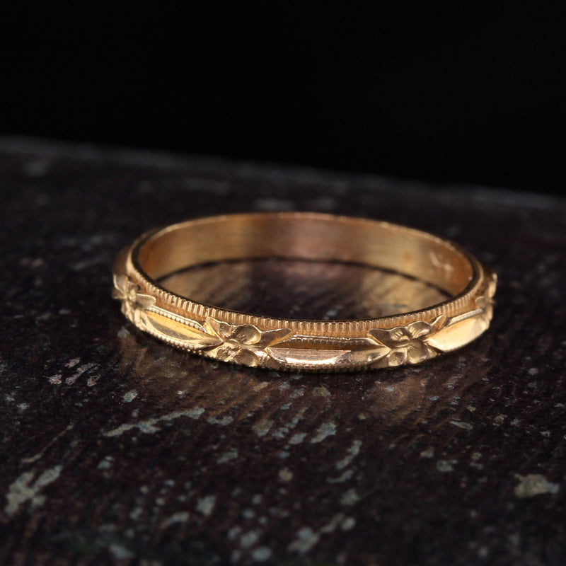 Antique Art Deco 14K Yellow Gold Wedding Band - Size 6