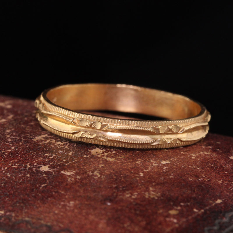 Antique Art Deco 14K Yellow Gold Engraved Wedding Band - Size 10 3/4