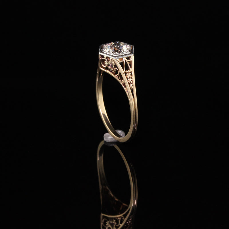 Antique Art Deco 14K Yellow Gold Old European Diamond Engagement Ring