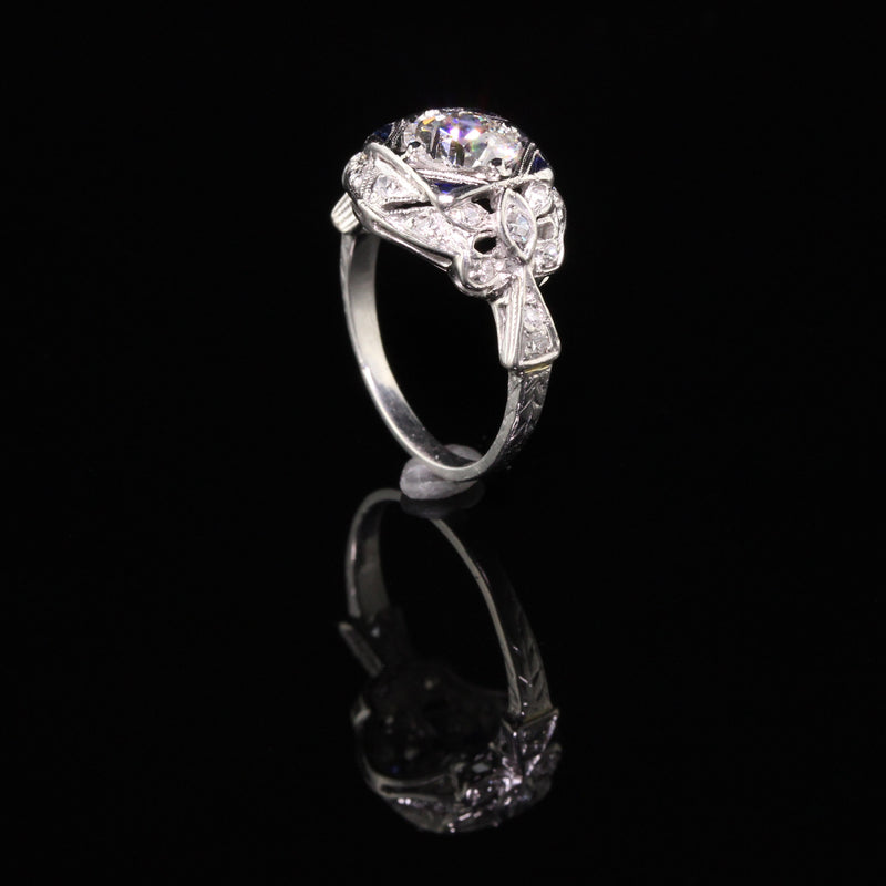 Antique Art Deco Platinum Old European Diamond Engagement Ring