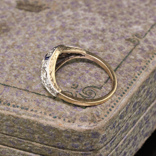 Antique Art Deco 14K Yellow Gold Platinum Diamond and Sapphire Engagement Ring