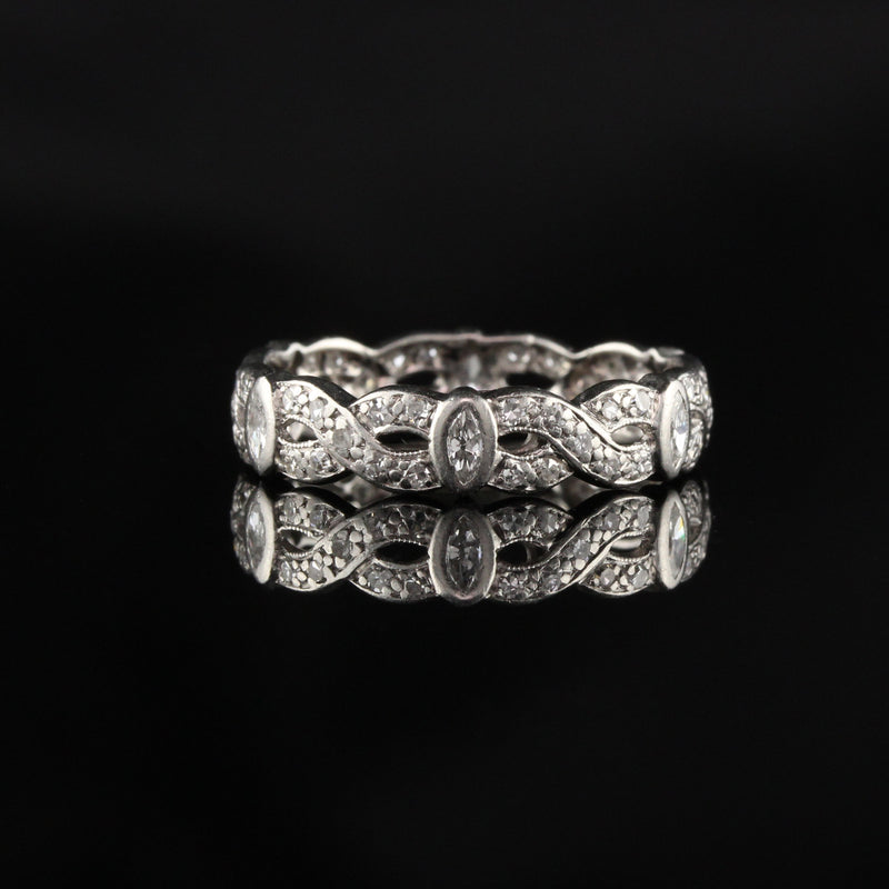 Antique Art Deco Platinum Diamond Marquise Single Cut Braid Eternity Band