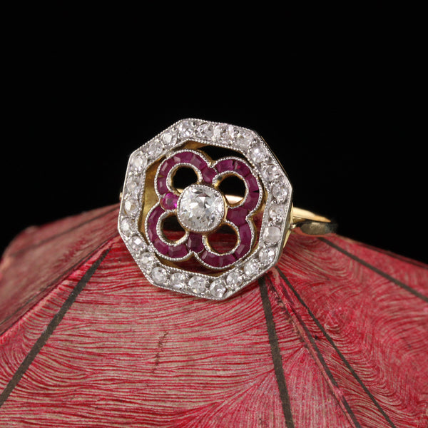 Antique Art Deco 18K Yellow Gold Diamond and Ruby Engagement Ring