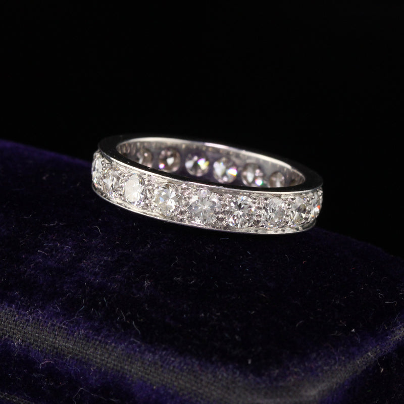 Antique Art Deco Platinum Old European Diamond Wedding Band - Size 6
