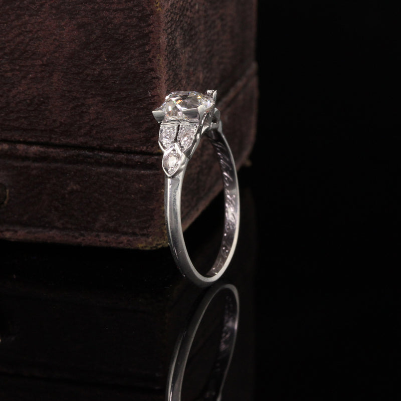 Antique Art Deco Platinum Old European Diamond Engagement Ring - GIA